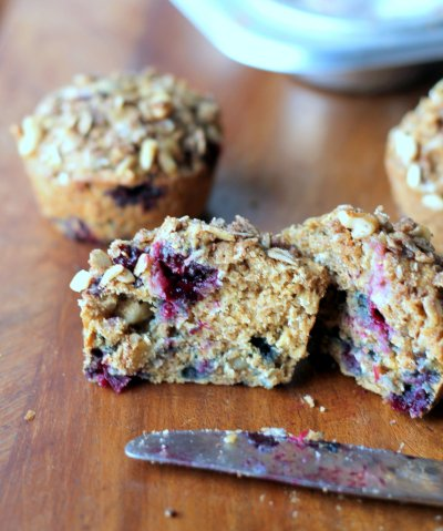 Whole Grain Blueberry Raspberry Oat Bran Muffins