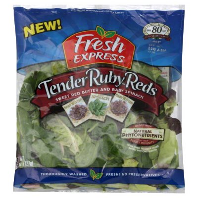 Sweet Red Butter and Baby Spinach, Tender Ruby Reds