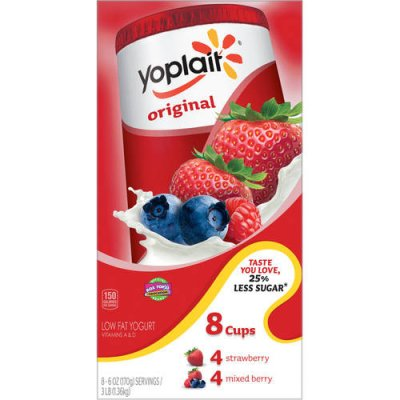 Yogurt,  Fridge Pack, Low-Fat,  Strawberry, Mixed Berry