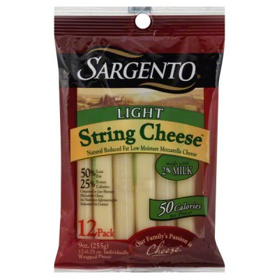 Light String Cheese, Reduced Fat Low Moisture Mozzarella Natural Cheese