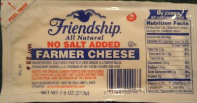 Cheese, Farmer, No Salt Added