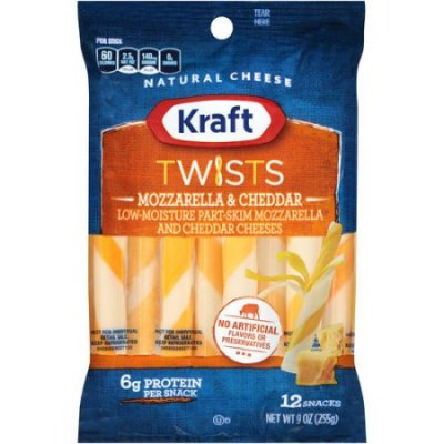 Twists, Mozzarella & Cheddar Cheeses, 2% Milk