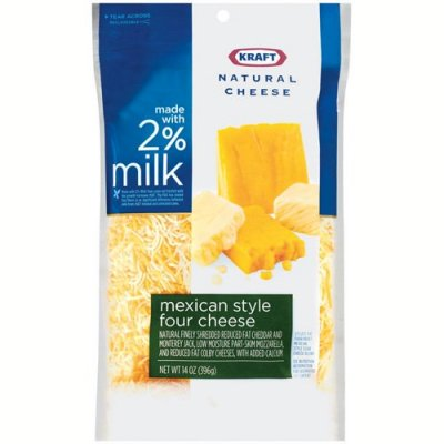 100% Natural Finely Shredded Cheese, Four Cheese Mexican, Reduced Fat