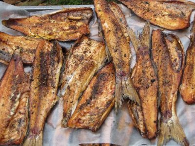 Fish, mullet, striped, cooked, dry heat