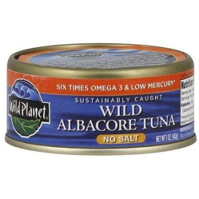 Wild Albacore Tuna In Water And Sea Salt