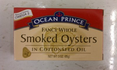 Oysters, Whole, Smoked, in Cottonseed Oil
