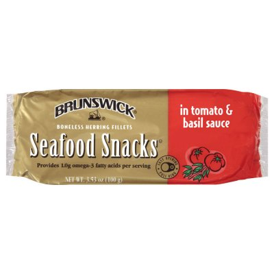 Seafood Snacks, Boneless Herring Fillets In Tomato & Basil Sauce
