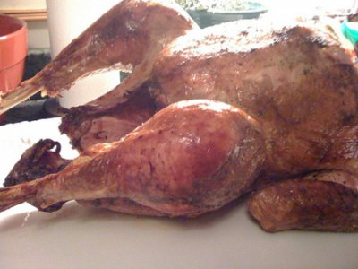 Turkey, drumstick, smoked, cooked, with skin, bone removed