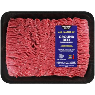 Beef, ground, 90% lean meat / 10% fat, crumbles, cooked, pan-browned