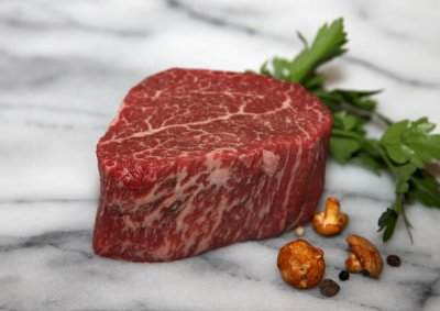 Beef, Australian, Wagyu, loin, tenderloin steak/roast, boneless, separable lean only, Aust. marble score 9, raw