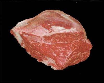 Beef, chuck, under blade steak, boneless, separable lean and fat, trimmed to 0