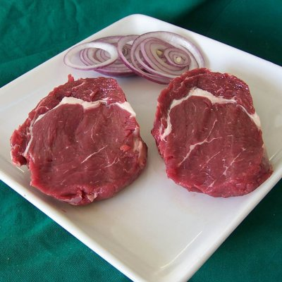 Beef, rib eye steak/roast, boneless, lip-on, separable lean and fat, trimmed to 1/8