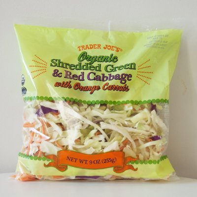 Organic Shredded Green And Red Cabbage With Orange Carrots