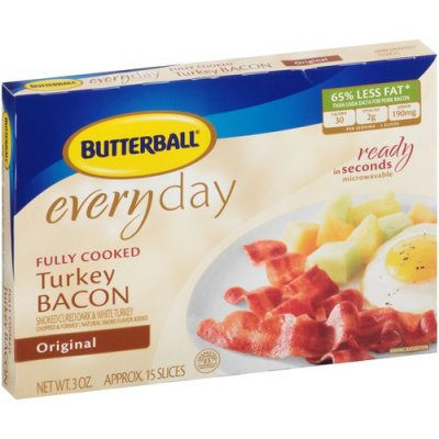 Everyday, Turkey Bacon, Fully Cooked, Original