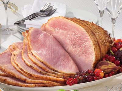 Pork, cured, ham, regular (approximately 13% fat), canned, roasted