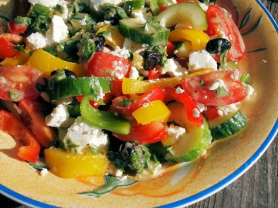 Greek Salad, with Feta Cheese and Greek Dressing