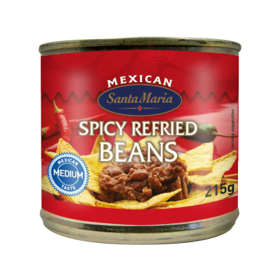 Spicy Refried Beans, with Jalapeno Pieces, Medium