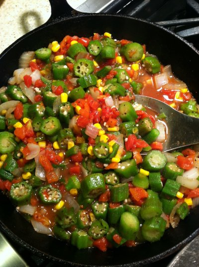 Okra And Corn Tomatoes