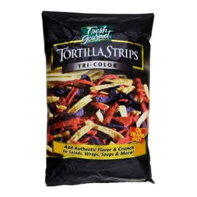 Tortilla Strips, Tri-Color, Crunchy Topping For Salsa And More