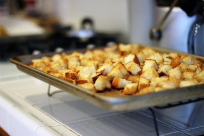 Cheese and Garlic Croutons
