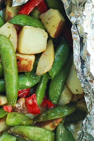 Garden Medley, Sugar Snap Peas, Roasted Potatoes, Red Peppers With Garlic Herbs