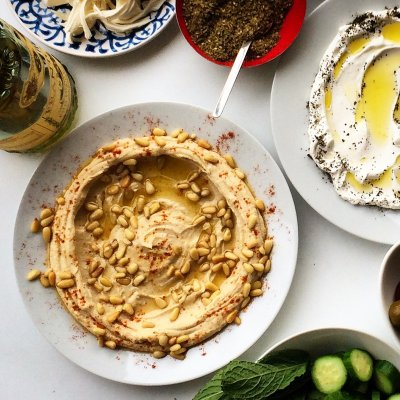 Hummus, with Roasted Pine Nuts