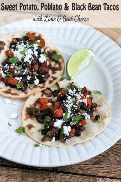 Street Tacos, Sweet Potato, Black Bean & Goat Cheese