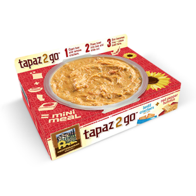 Tapaz 2 go, Lentil Crackers & Roasted Garlic Hummus