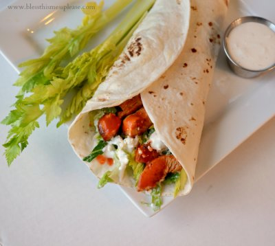 Buffalo Style Chicken Wrap with Blue Cheese Sauce