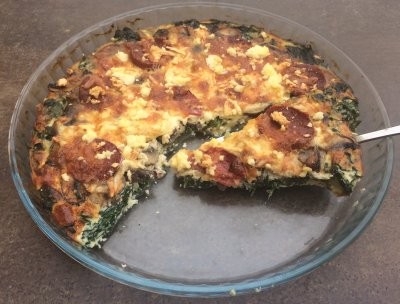 Crustless Quiche, Portabella, Quinoa, Parmesan, Asiago And Kale