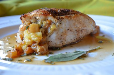 Cr�me Brie And Apple Stuffed Chicken Breasts with Rib Meat