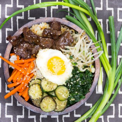 Bibimbap Bowl - Korean Beef, Vegetables and Spicy Chili Sauce