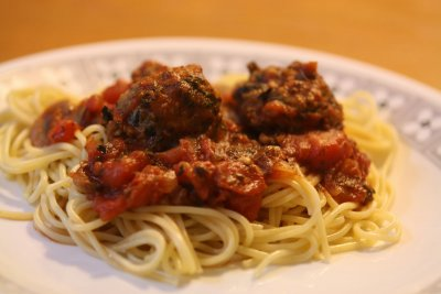 Spaghetti with Turkey Meatballs & Sauce