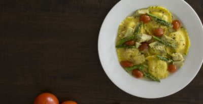 Ricotta Cheese & Spinach Ravioli In A Rich Tomato Garlic Sauce