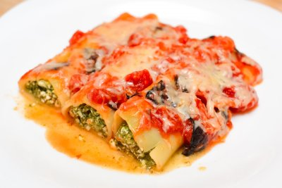 Four Cheese Cannelloni, With Ricotta, Mozzarella, Parmesan and Cottage Cheese