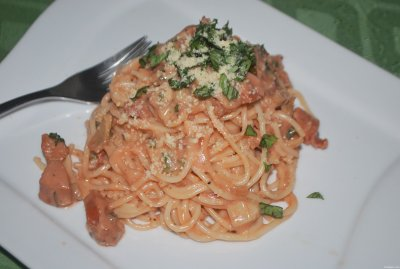 Pasta with Sliced Franks in Tomato Sauce