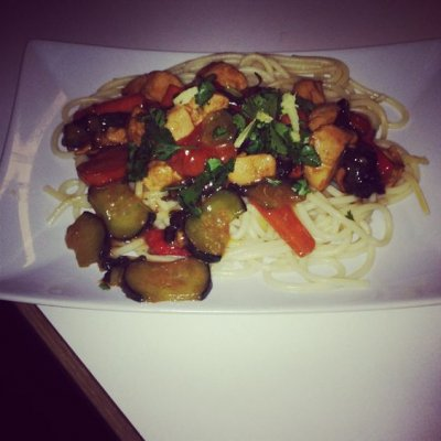 Chicken Stir-Fry,W/Pasta In Sesame Garlic Sauce
