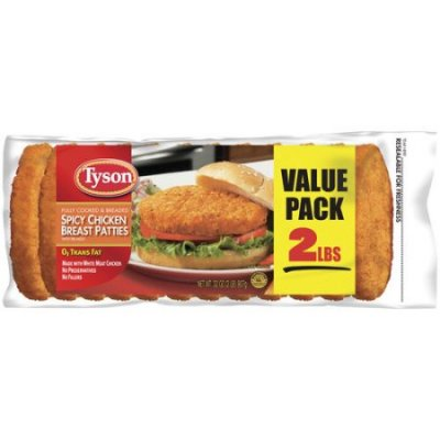 Chicken Breast Patties, Spicy, Fully Cooked, Breaded