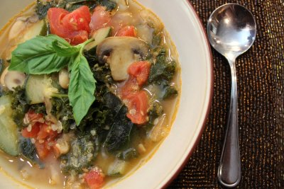 Organic Vegetable Soup With Quinoa And Kale