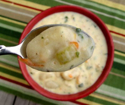 Homestyle, Creamy Chicken & Herb Dumplings Soup