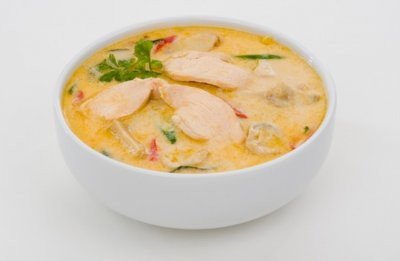 Creamy Thai Style Chicken with Rice  Soup