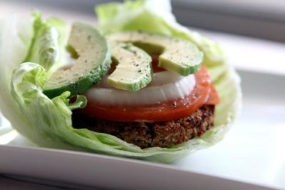 Veggie Burger #2 wrapped in lettuce