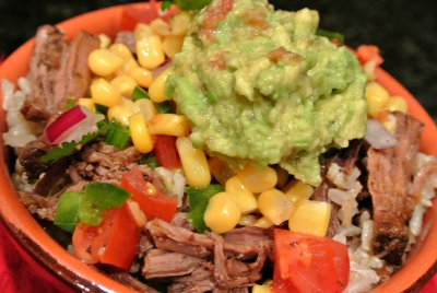 Burrito Bowl with Steak, Black Beans and Sour Cream