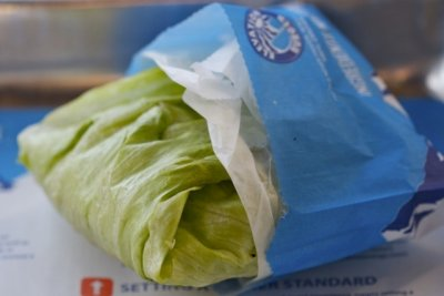 Elevation Burger wrapped in lettuce