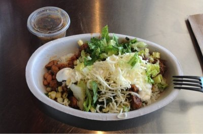 Burrito Bowl with Steak, Pintos and Cheese