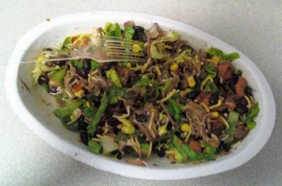 Burrito Bowl with Barbacoa, Black Beans and Cheese