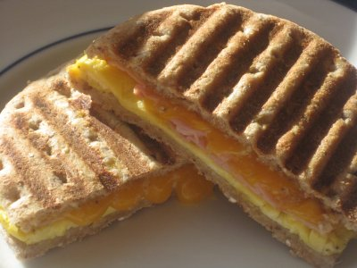 Breakfast Panini-Multigrain Flatbread, Bacon, Egg White, Cheese