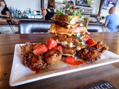 Chicken & Waffles w/ Breaded Chicken Breast