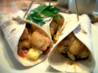 Egg and Taters Breakfast Burrito