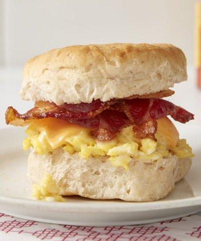 Fast foods, biscuit, with egg and bacon
